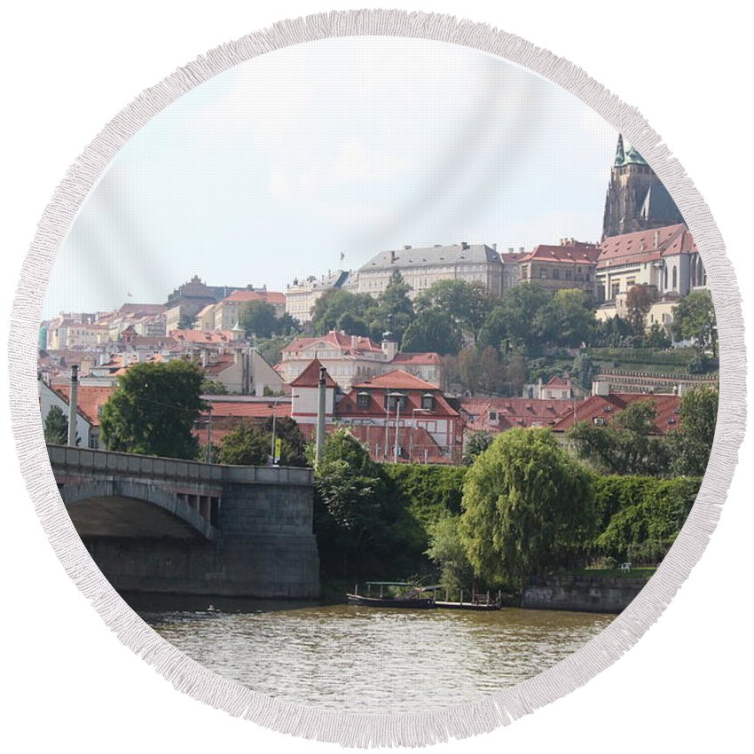 Prague Round Beach Towel featuring the photograph Prague Castle by Nicholas Miller