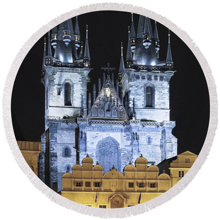 Old Town Square Round Beach Towel featuring the photograph Prague Old Town Square by Sally Weigand
