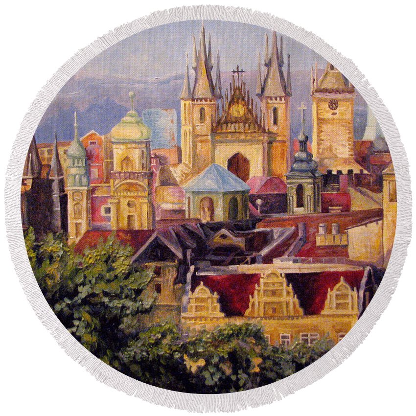 Painting Round Beach Towel featuring the painting Prague. Roofs. by Anna Berezina