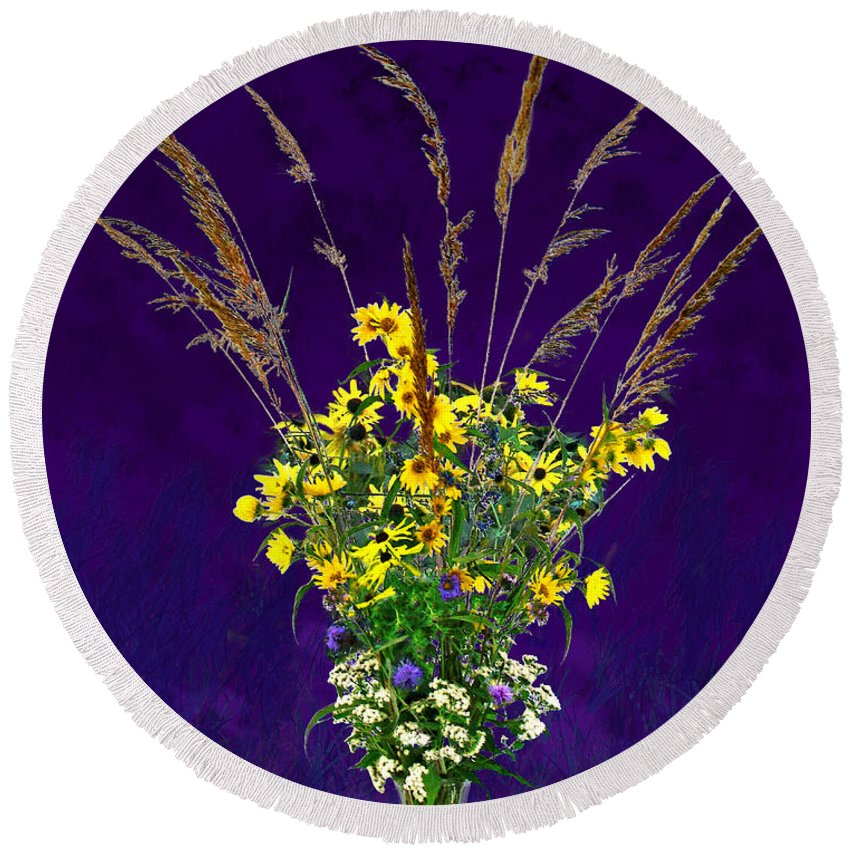 Flowers Round Beach Towel featuring the photograph Prairie Bouquet by Steve Karol