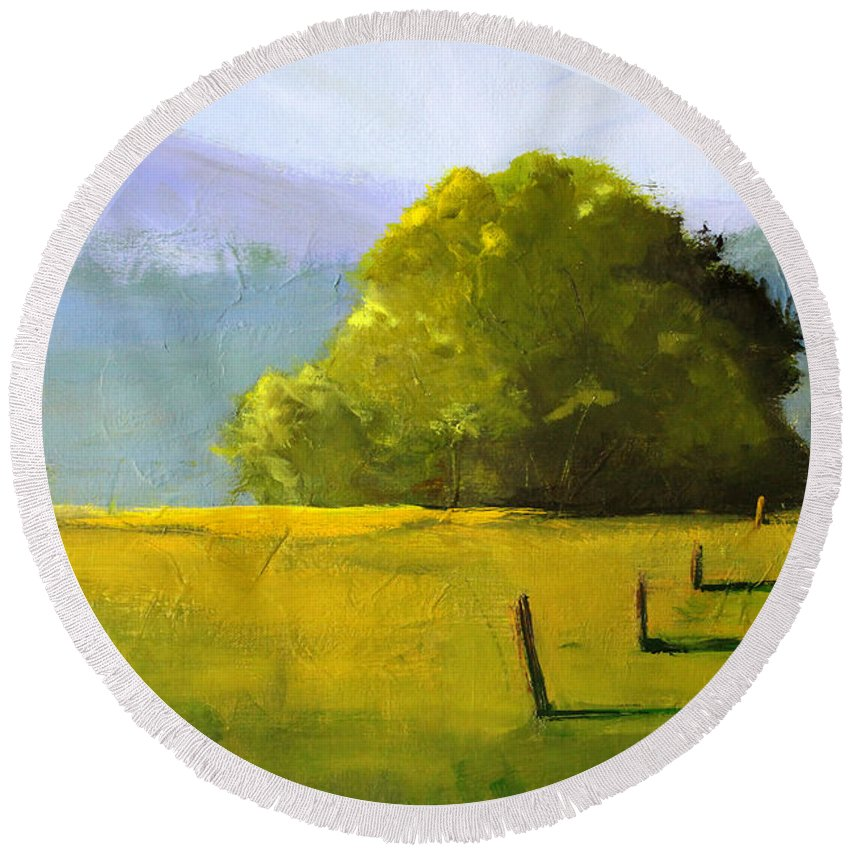 Oregon Landscape Painting Round Beach Towel featuring the painting Prairie Dusk by Nancy Merkle
