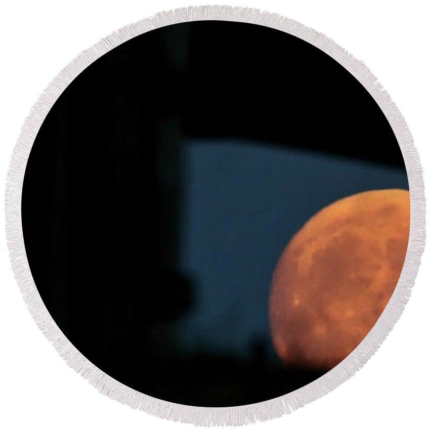 Prairie Full Moon Seen Through An Old Barn Round Beach Towel featuring the photograph Prairie Full Moon And Barn by Mark Duffy