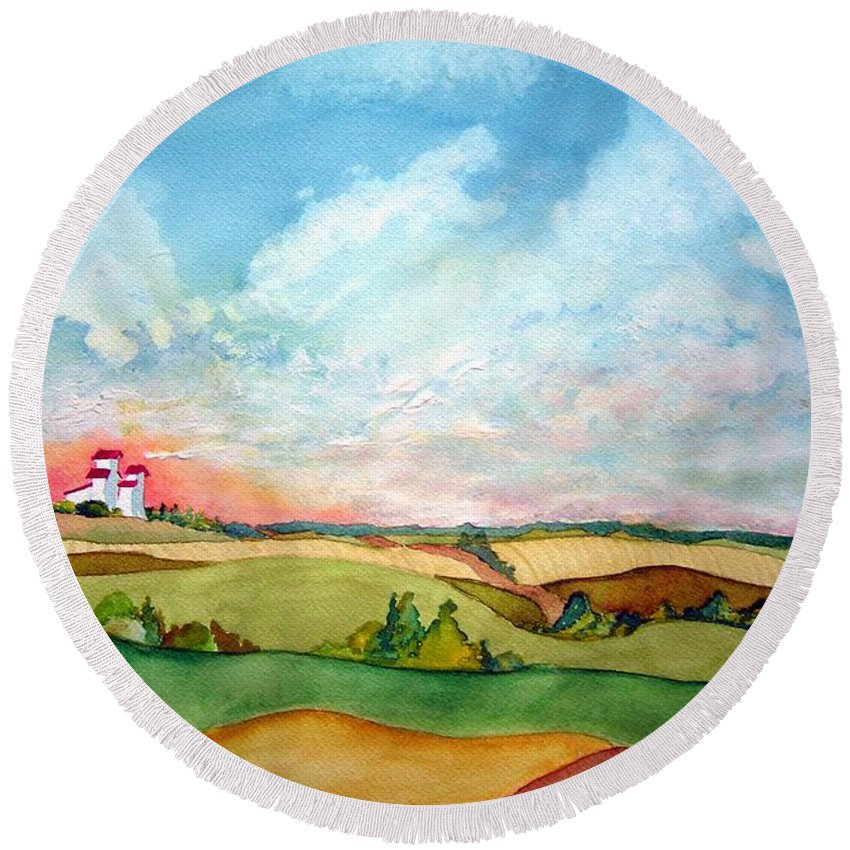 Prairie Grain Elevators Round Beach Towel featuring the painting Prairie Grain Elevators by Joanne Smoley