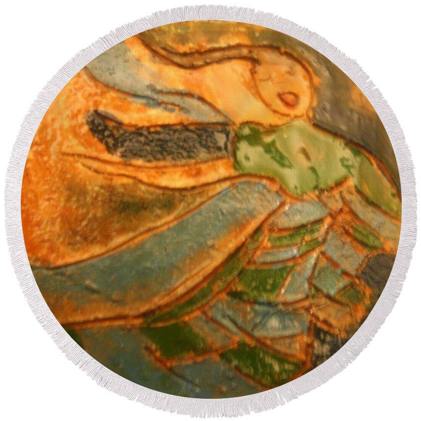Jesus Round Beach Towel featuring the ceramic art Praise Him - Tile by Gloria Ssali