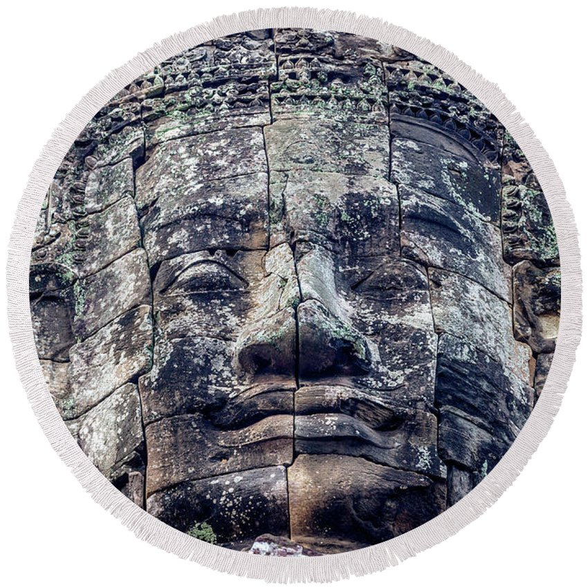 Bayon Round Beach Towel featuring the photograph Prasat Bayon Stone Face by Art Phaneuf