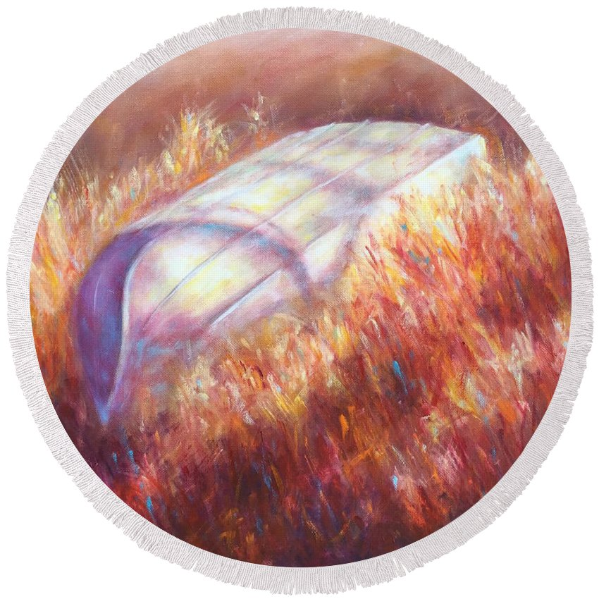 Canoe Round Beach Towel featuring the painting Pray For Rain by Shannon Grissom
