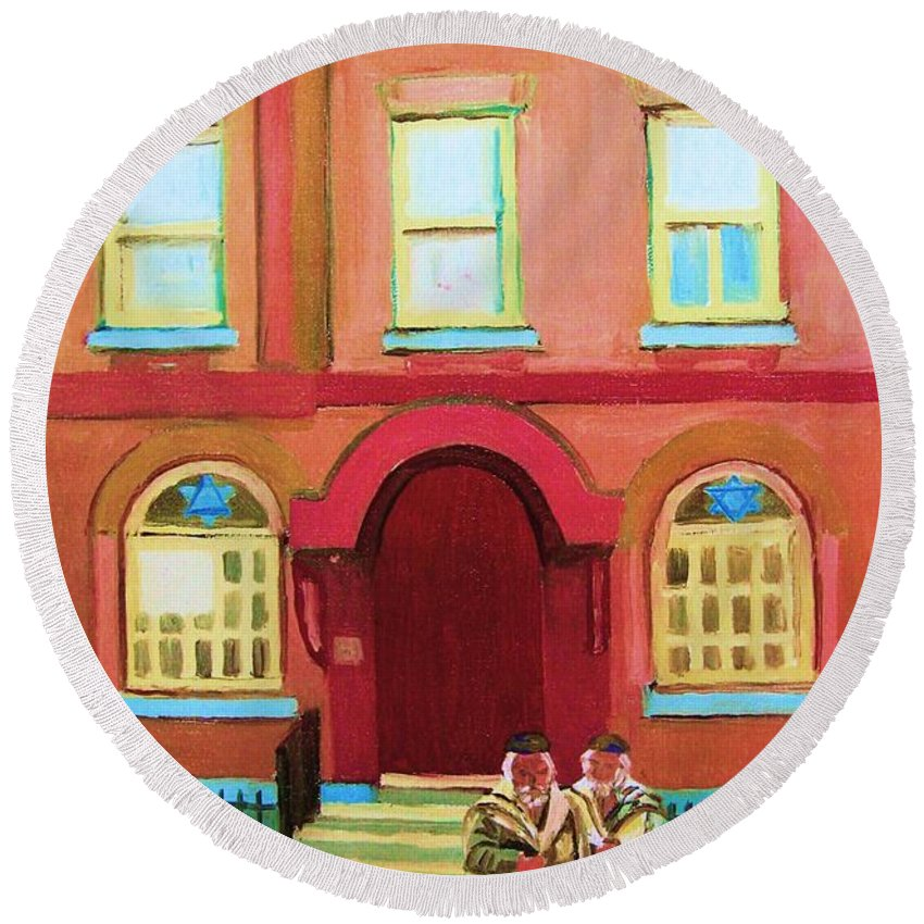 Bagg Street Synagogue Round Beach Towel featuring the painting Prayer Shawls by Carole Spandau