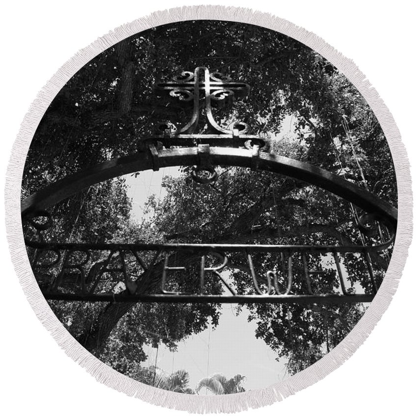 Black And White Round Beach Towel featuring the photograph Prayer Well by Rob Hans