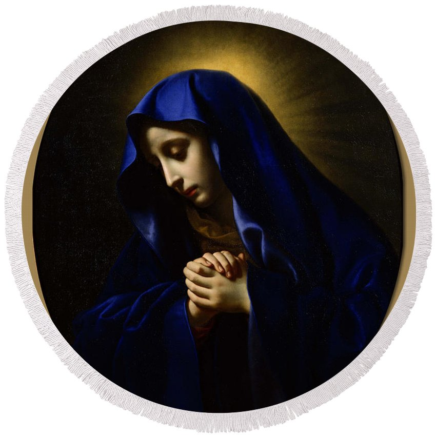 Carlo Dolci (1616-1686) Round Beach Towel featuring the painting Praying by Carlo Dolci