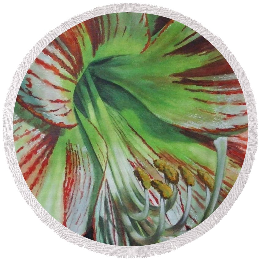 Amaryllis Round Beach Towel featuring the painting Precious by Barbara Keith