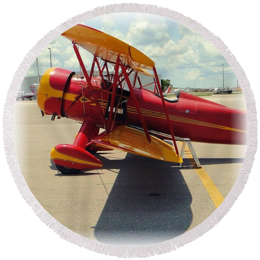 Airplane Round Beach Towel featuring the photograph Preflight For The Waco by Barbie Corbett-Newmin