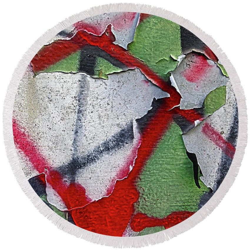 Concrete Round Beach Towel featuring the digital art Prepare For Impact by Dan Reich