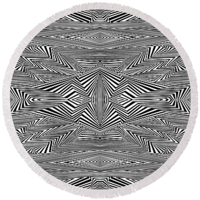 Dynamic Black And White Round Beach Towel featuring the painting Preprogrammed by Douglas Christian Larsen