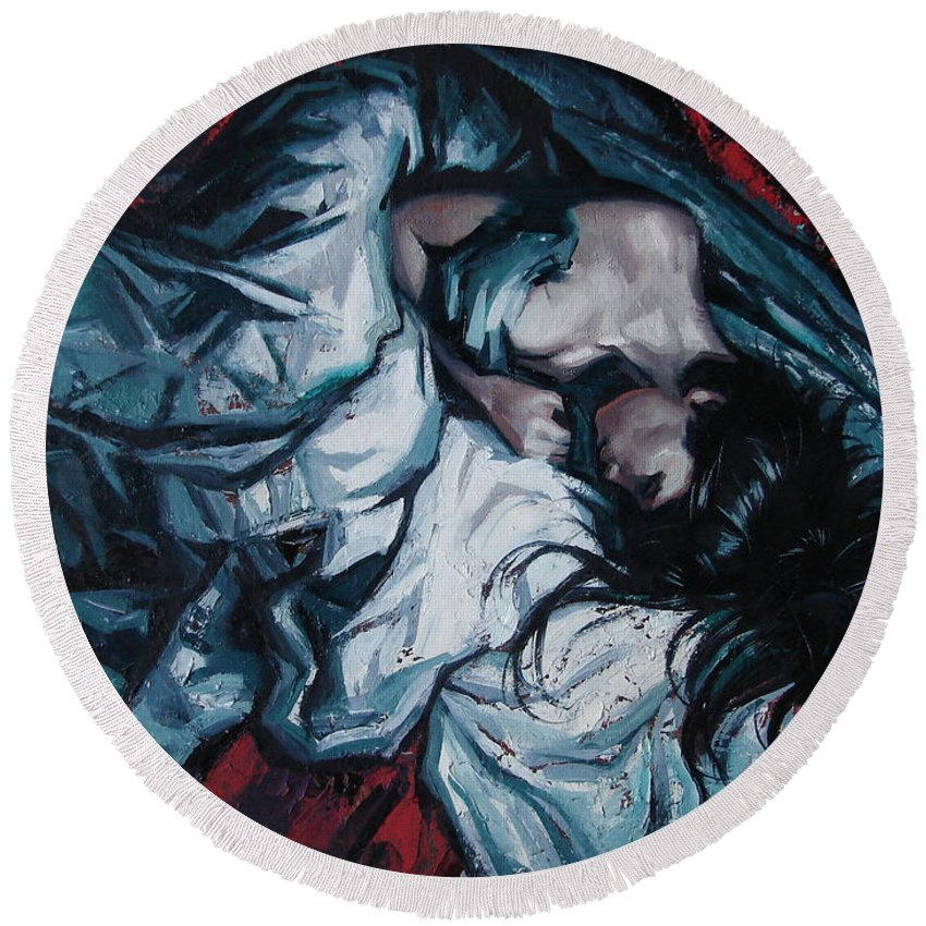 Oil Round Beach Towel featuring the painting Presentiment of insomnia by Sergey Ignatenko