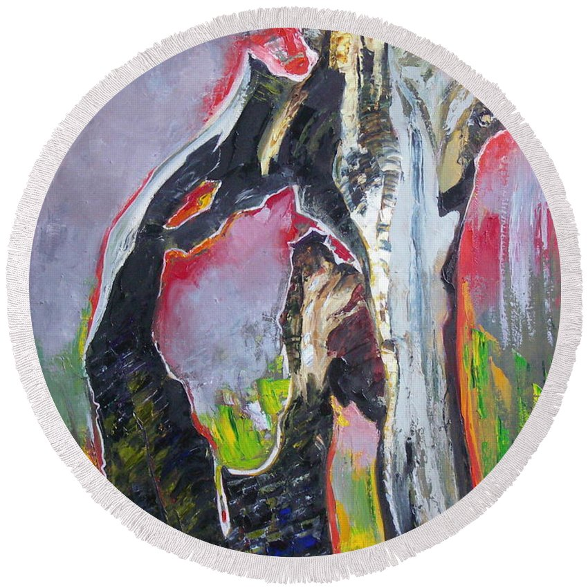 Oil Round Beach Towel featuring the painting Presentiment by Sergey Ignatenko