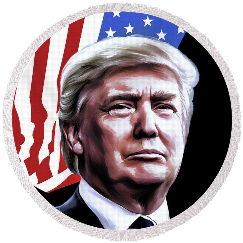 Trump Digital Art Round Beach Towels