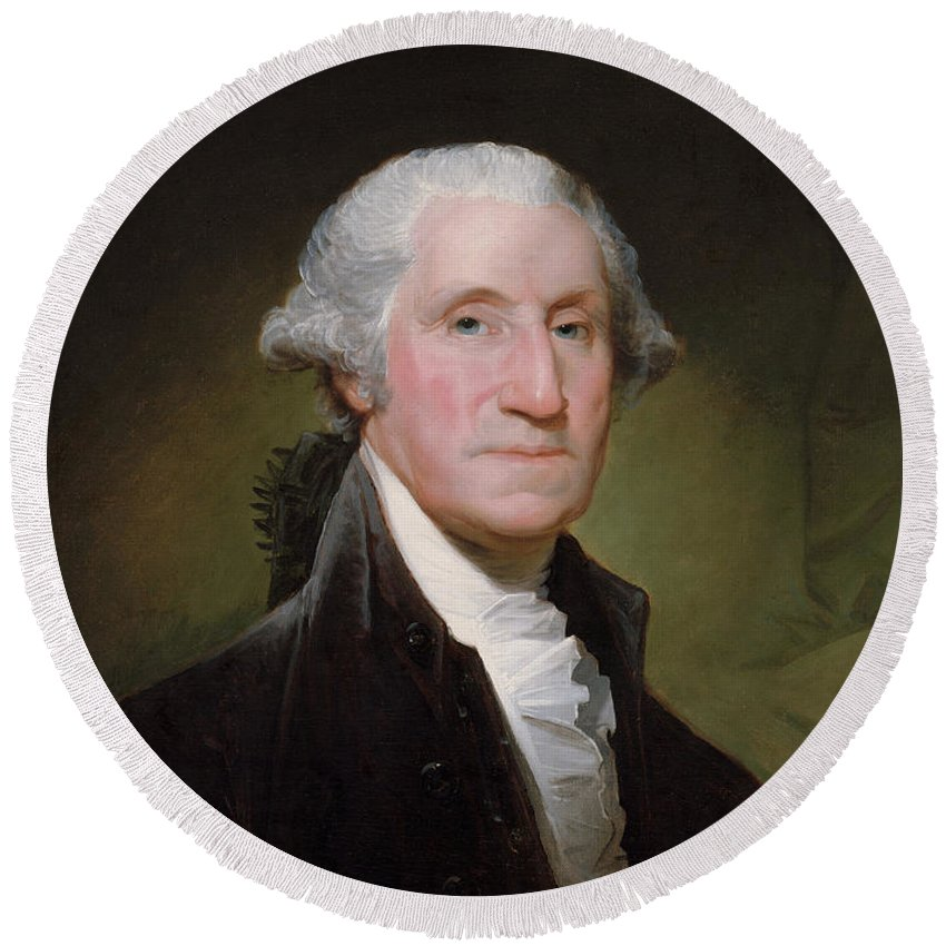 George Washington Round Beach Towel featuring the painting President George Washington by War Is Hell Store