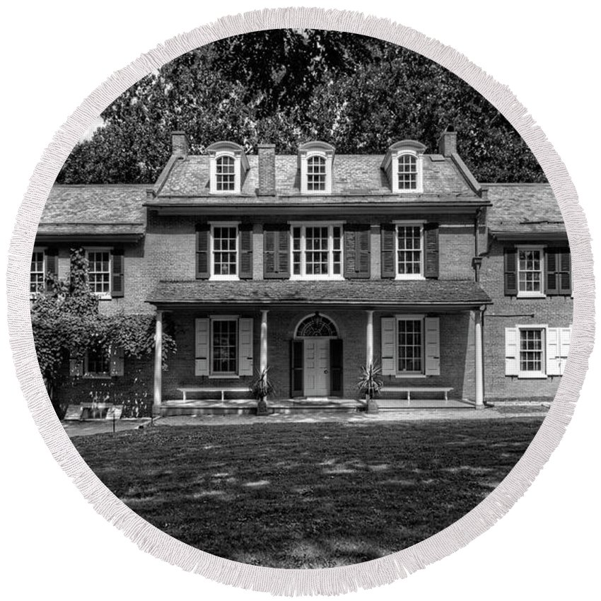 Lancaster Round Beach Towel featuring the photograph President James Buchanan's Wheatland In Black And White by Craig Fildes