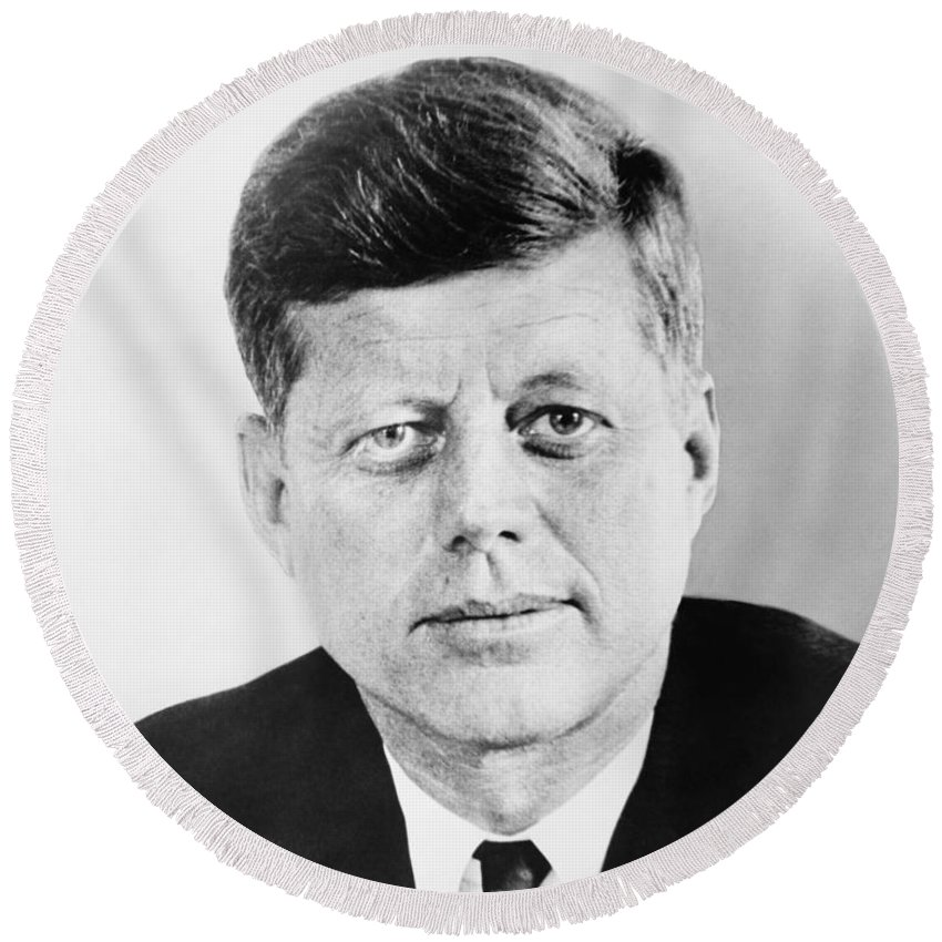 Jfk Round Beach Towel featuring the photograph President John F. Kennedy by War Is Hell Store