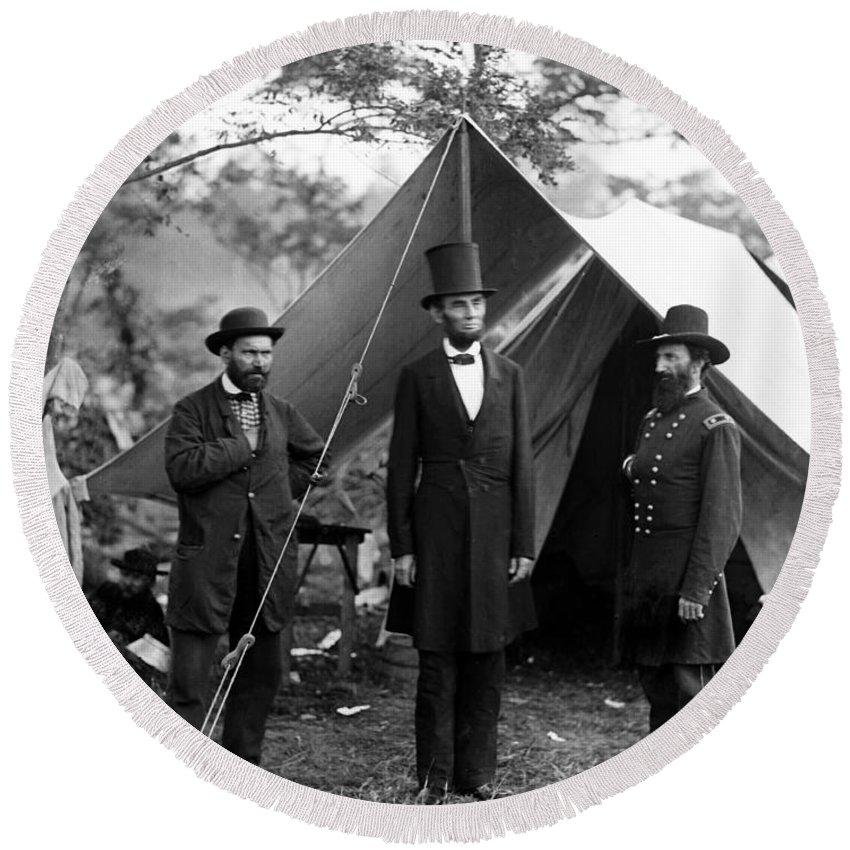 abraham Lincoln Round Beach Towel featuring the photograph President Lincoln Meets With Generals After Victory At Antietam by International Images