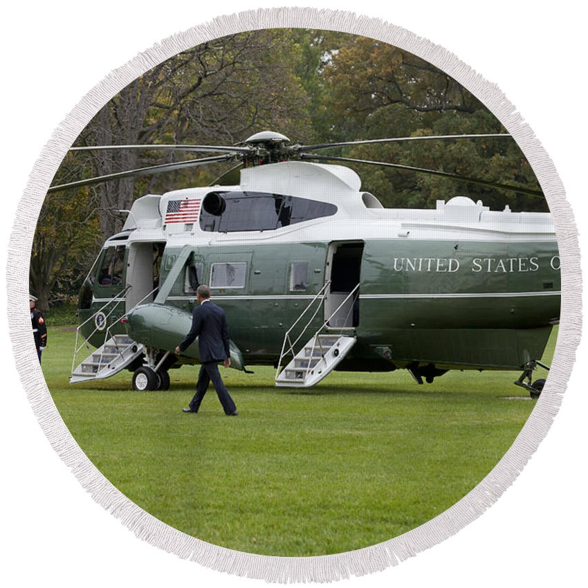 President Round Beach Towel featuring the photograph President Obama Walking Toward Marine One by B Christopher