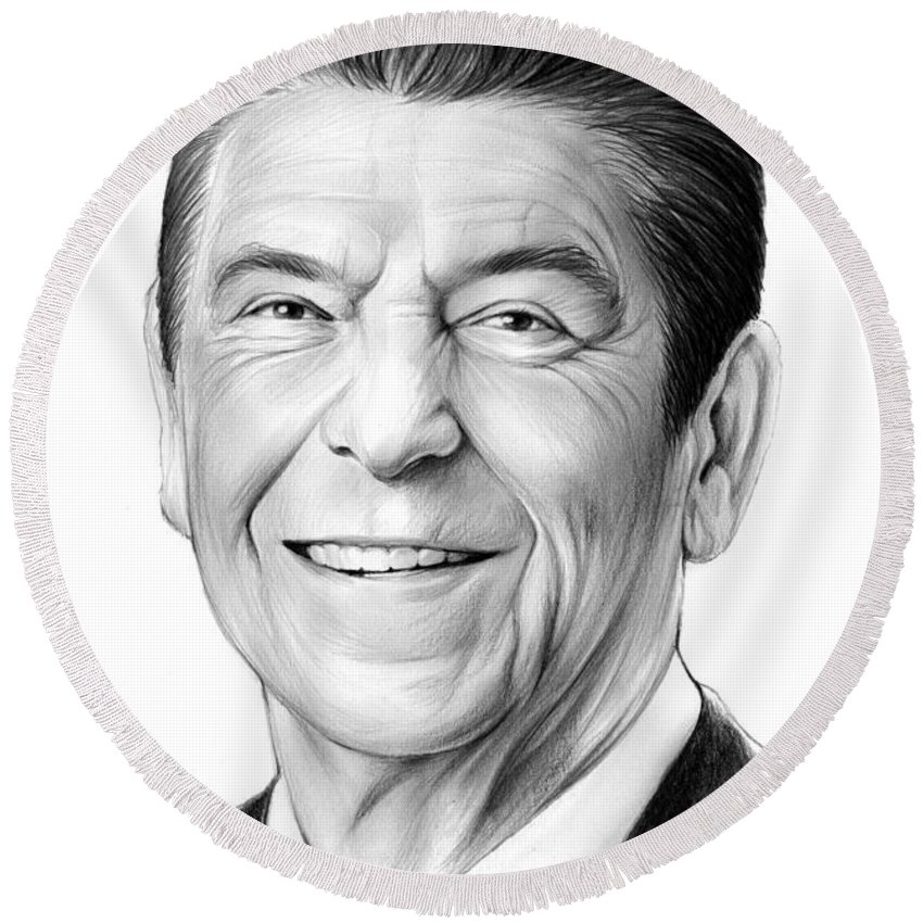 President Round Beach Towel featuring the drawing President Ronald Reagan by Greg Joens