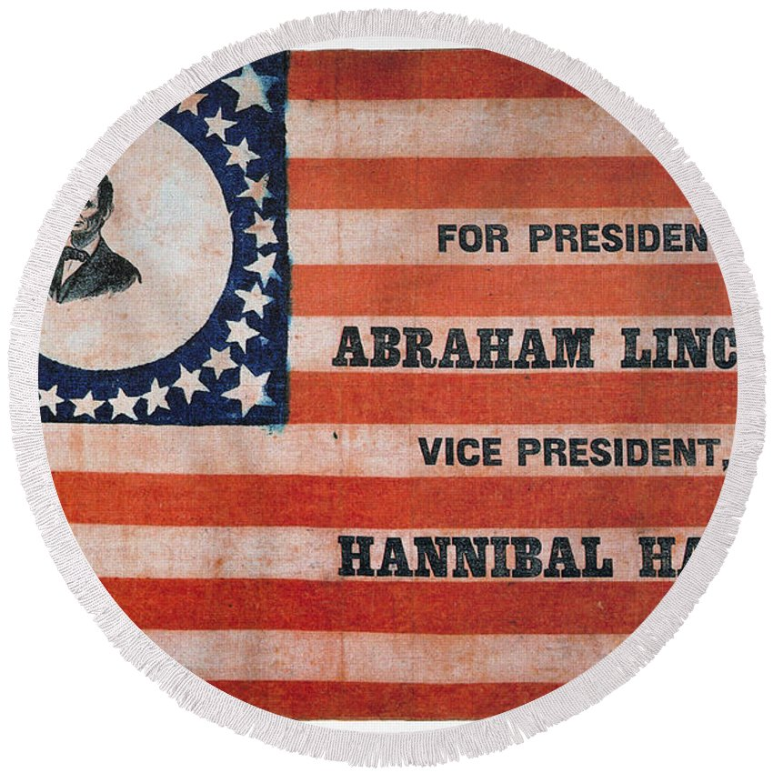 1860 Round Beach Towel featuring the photograph Presidential Campaign, by Granger