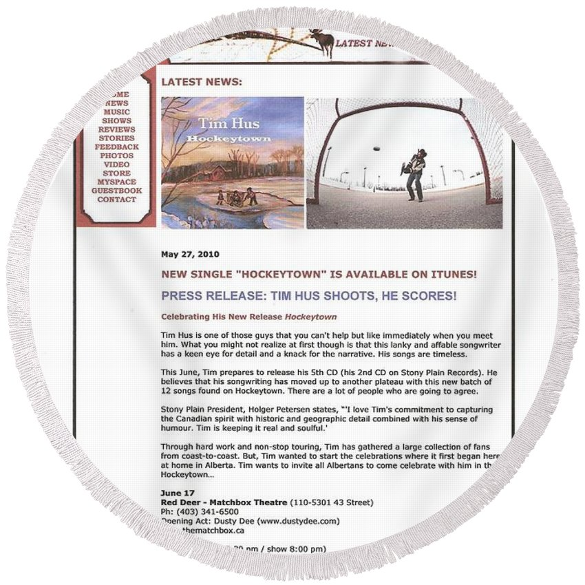 Cover Art Round Beach Towel featuring the painting Press Release Carole Spandau Paints Cover Art For Hockeytown Cd By Tim Hus by Carole Spandau
