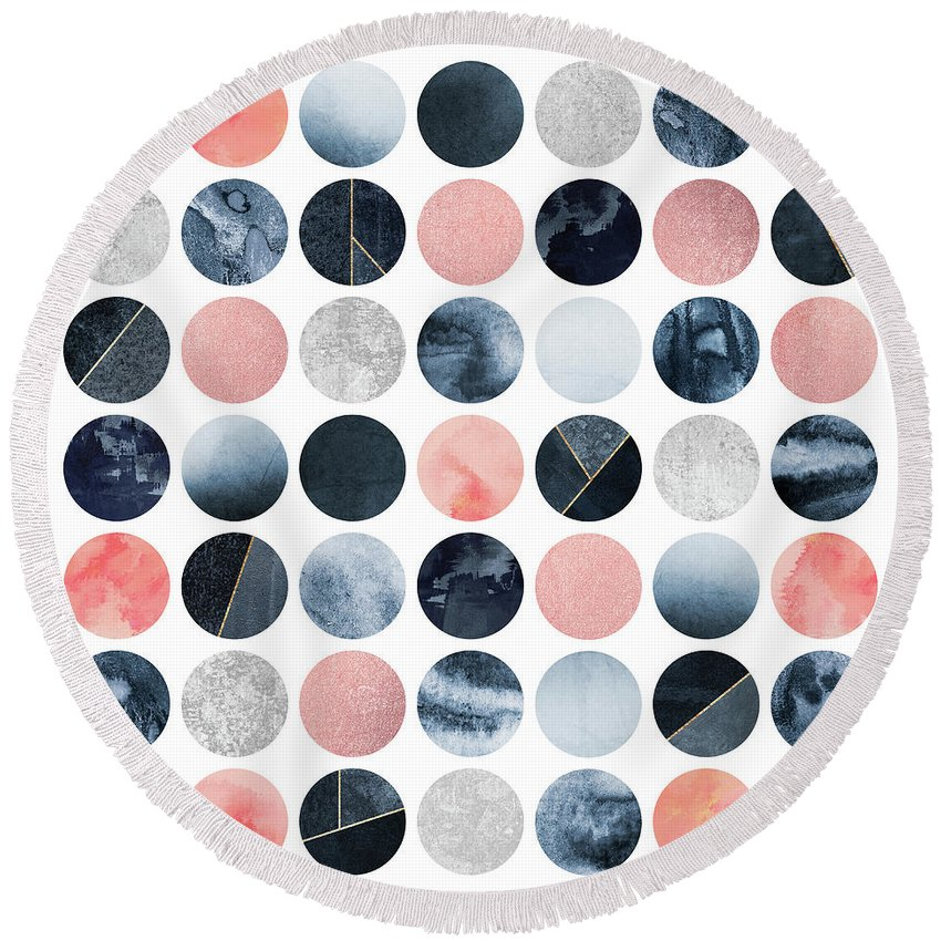 Graphic Round Beach Towel featuring the digital art Pretty Dots by Elisabeth Fredriksson