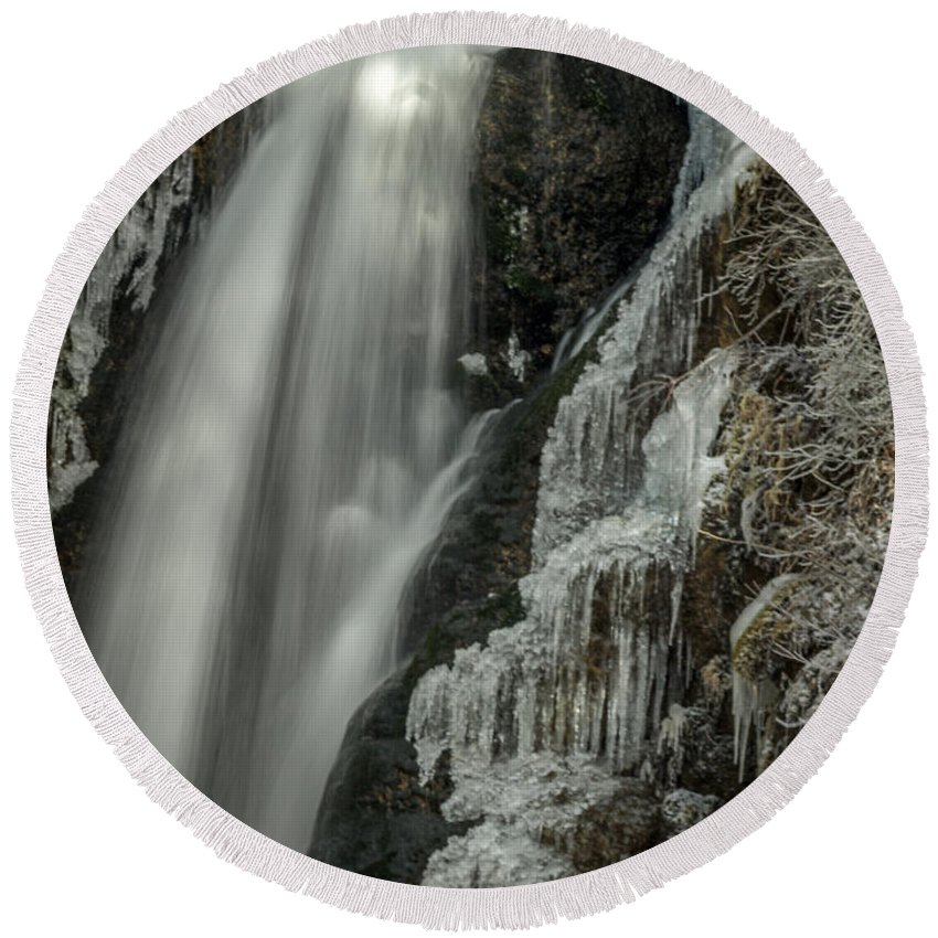 Frozen Waterfall Round Beach Towel featuring the photograph Pretty In Ice by Michele James