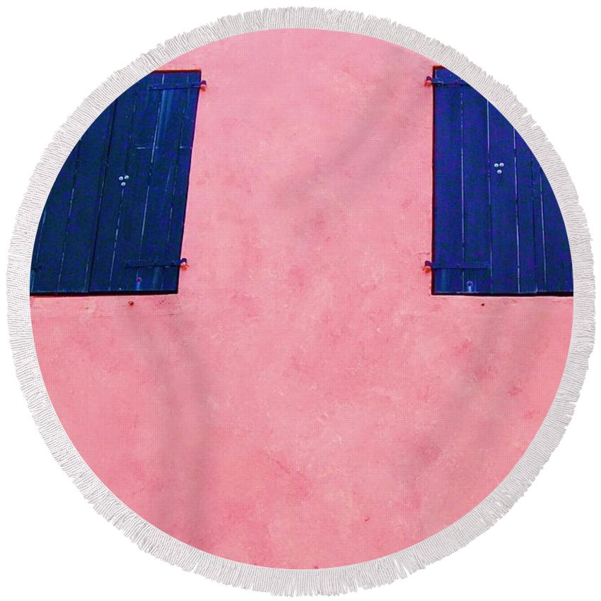 Shutters Round Beach Towel featuring the photograph Pretty In Pink by Debbi Granruth