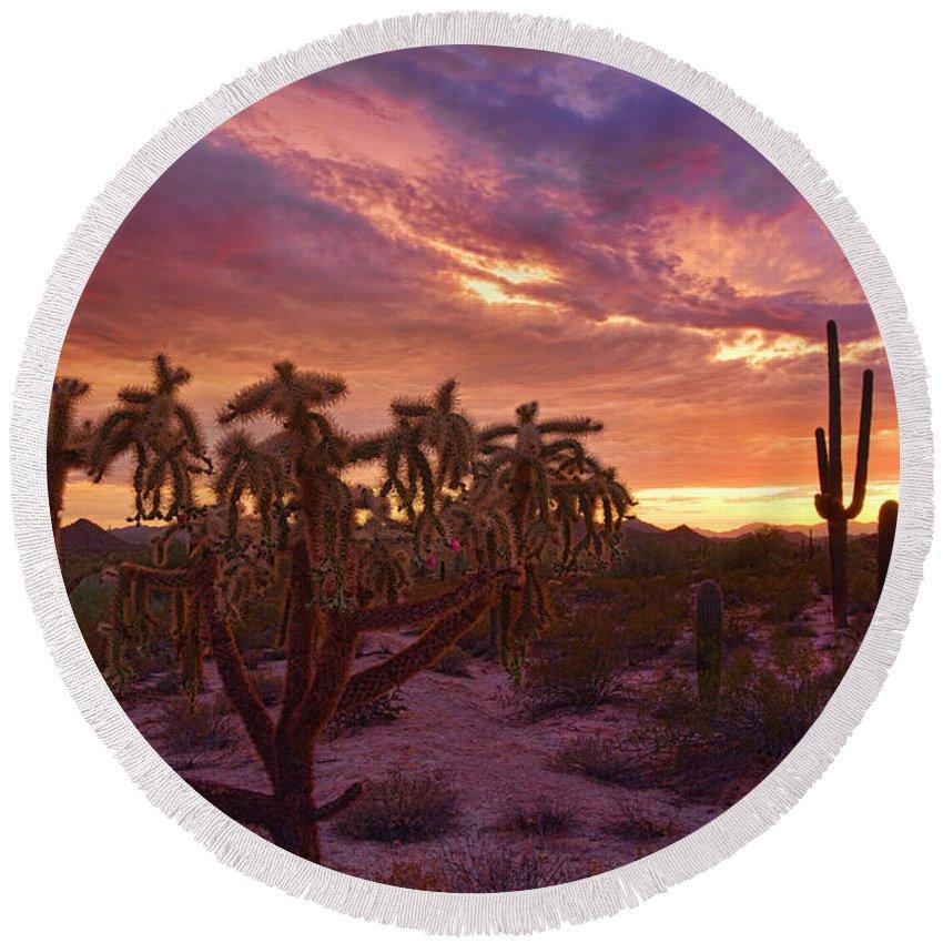 Saguaro Sunset Round Beach Towel featuring the photograph Pretty In Pink Desert Skies by Saija Lehtonen
