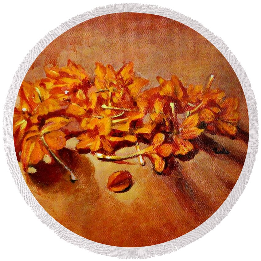 Usha Round Beach Towel featuring the painting Pretty Little Orange Flowers - Kankaambaram by Usha Shantharam