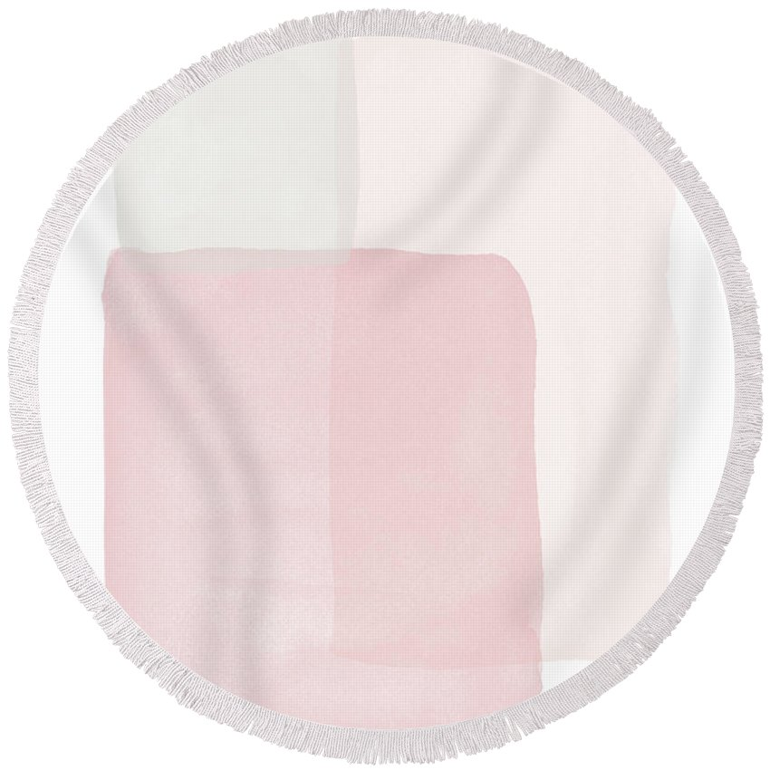 Watercolor Round Beach Towel featuring the painting Pretty Pink Boxes 1- Art by Linda Woods by Linda Woods