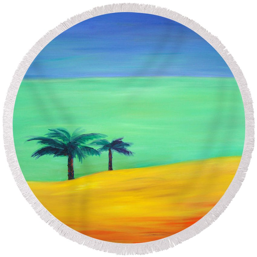 Blue Round Beach Towel featuring the painting Pretty Simple by Gina De Gorna