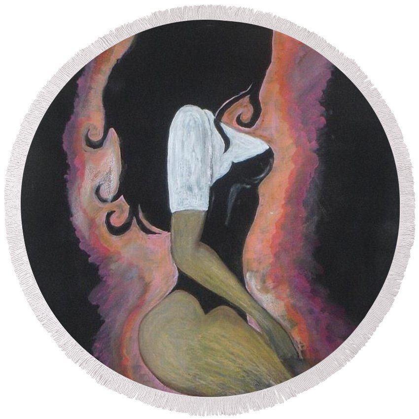 Brunette Round Beach Towel featuring the painting Brunette by Vesna Antic