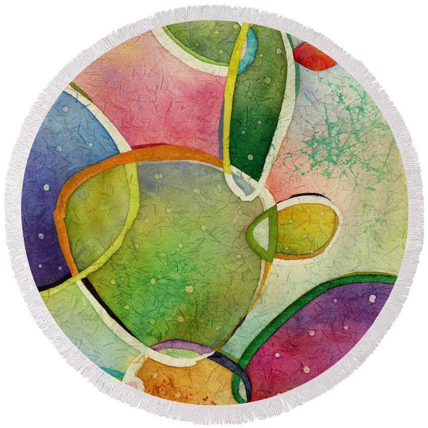 Cactus Round Beach Towel featuring the painting Prickly Pizazz 2 by Hailey E Herrera