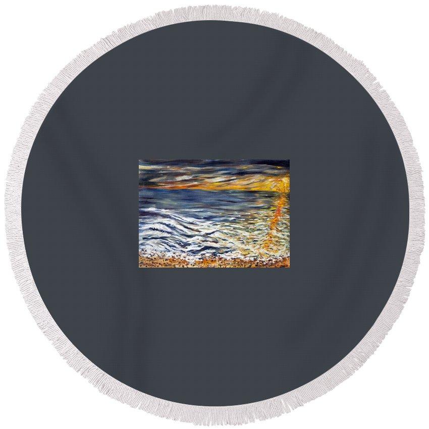 Landscape Round Beach Towel featuring the painting Priliv Meni Vse by Pablo de Choros