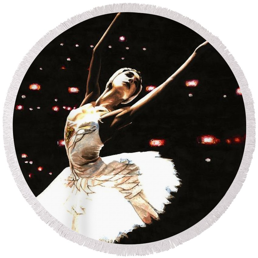 Prima Ballerina Round Beach Towel featuring the painting Prima Ballerina by Richard Young