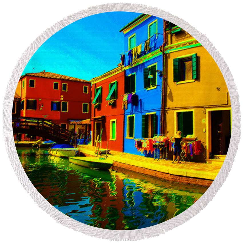 Burano Round Beach Towel featuring the pastel Primary Colors 2 by Donna Corless