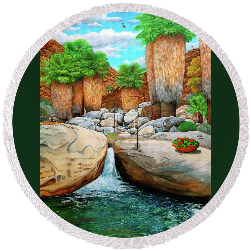 Landscape Round Beach Towel featuring the painting Primary Escape Route by Snake Jagger