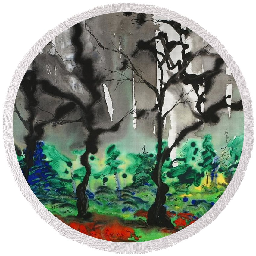 Forest Round Beach Towel featuring the painting Primary Forest by Nadine Rippelmeyer
