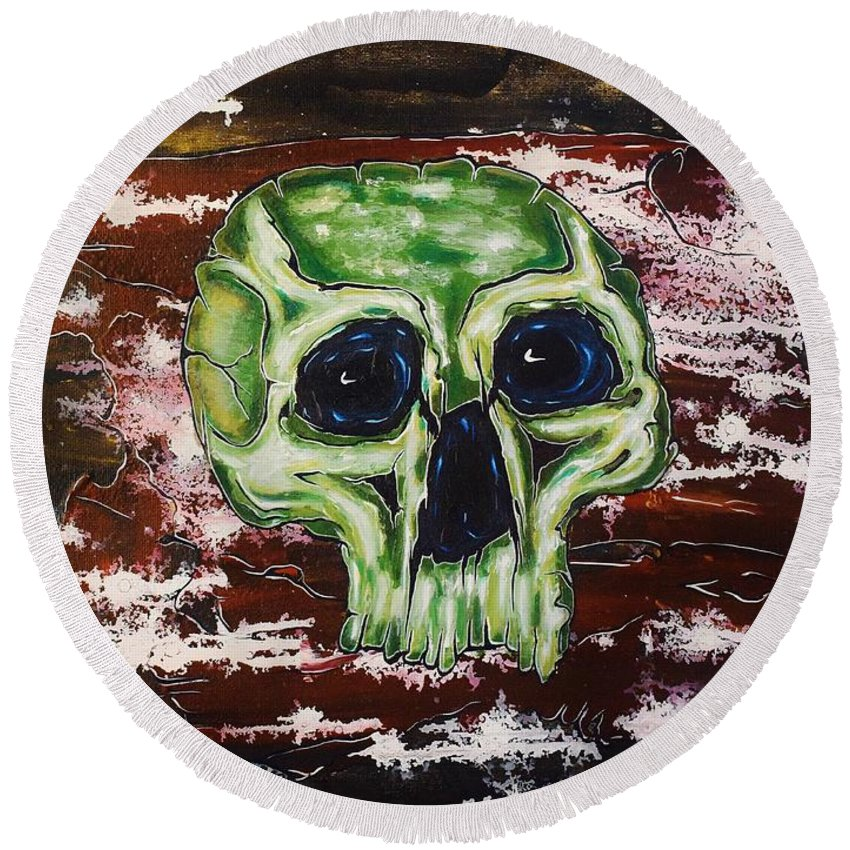 Skulls Round Beach Towel featuring the painting Primordial Portraits 7 by David Buschemeyer