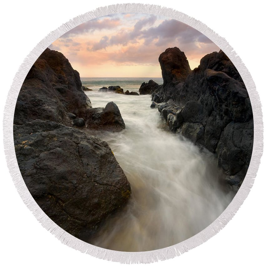 Sunrise Round Beach Towel featuring the photograph Primordial Tides by Mike Dawson