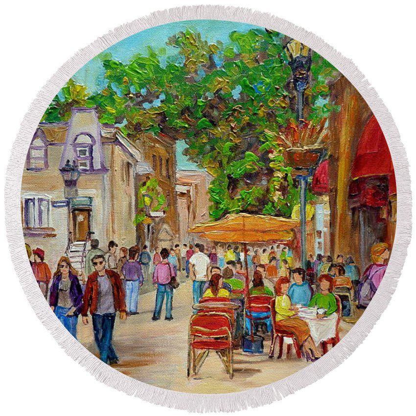 Montreal Round Beach Towel featuring the painting Prince Arthur Restaurants Montreal by Carole Spandau