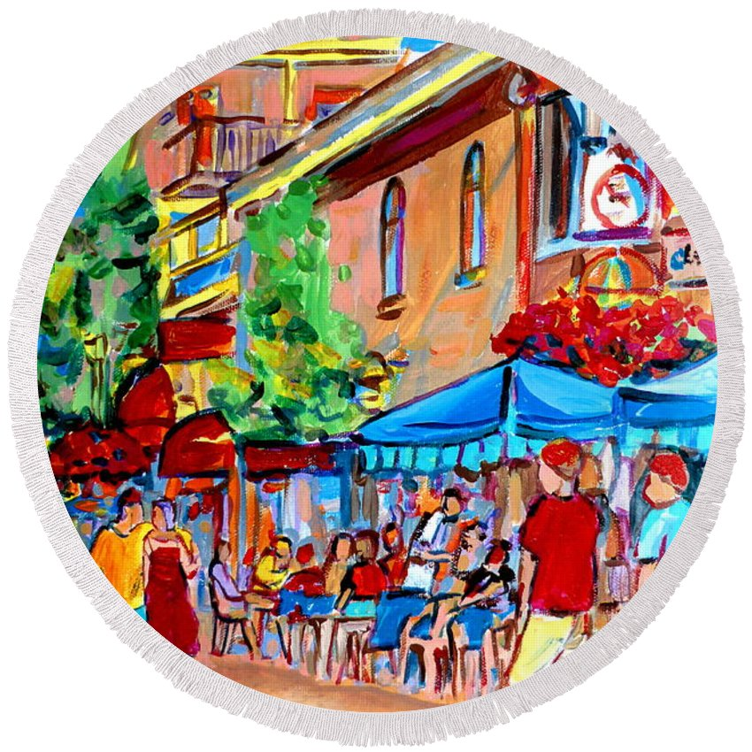 Cafes Round Beach Towel featuring the painting Prince Arthur Street Summer by Carole Spandau