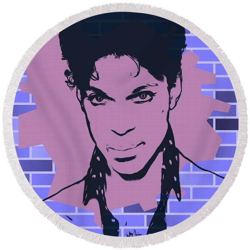 Prince Graffiti Tribute Round Beach Towel featuring the digital art Prince Graffiti Tribute by Dan Sproul