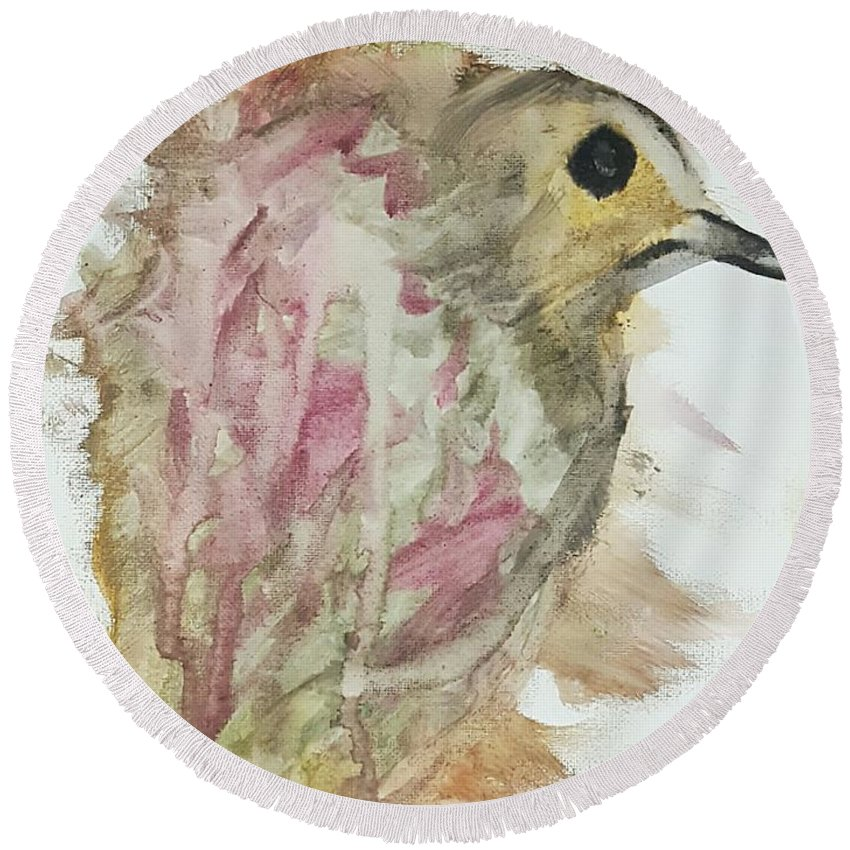 Bird Round Beach Towel featuring the painting Prince by Kaleidoscope Arts