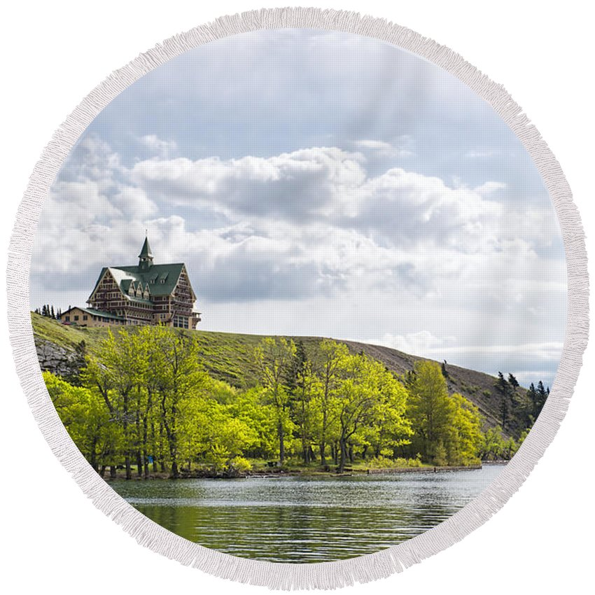 Waterton Alberta Canada Round Beach Towel featuring the photograph Prince Of Wales Hotel by David Arment