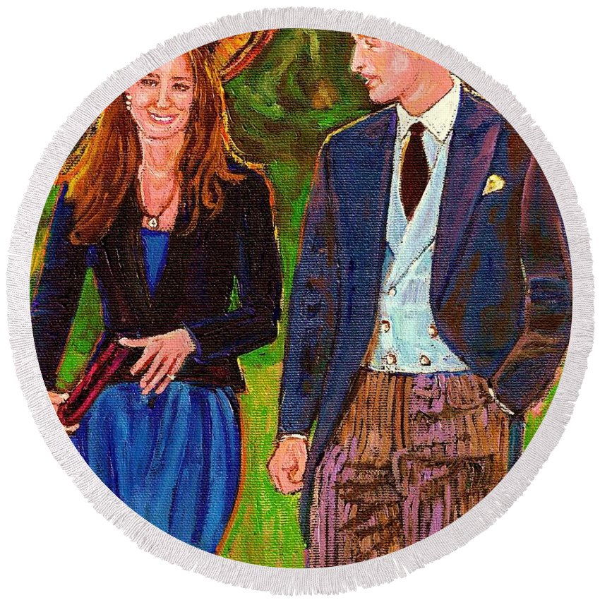 Wills And Kate Round Beach Towel featuring the painting Prince William And Kate The Young Royals by Carole Spandau